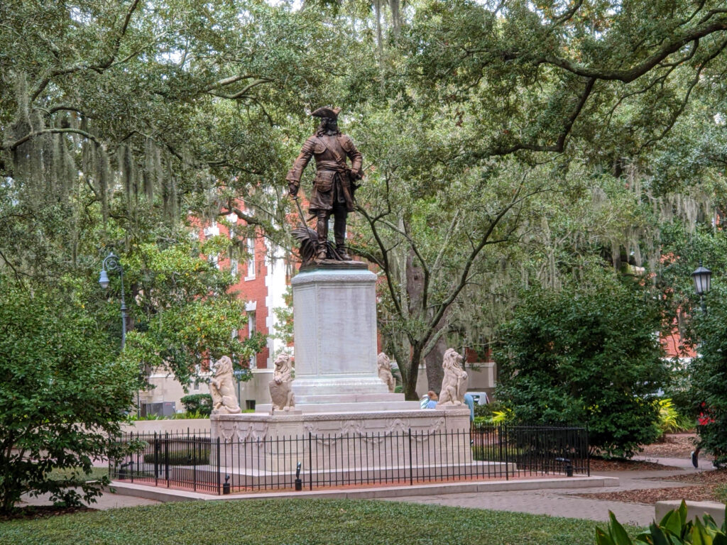 """James Oglethorpe received a charter from King George to found the final American colony in 1732.  Hence the name """"Georgia."""""""