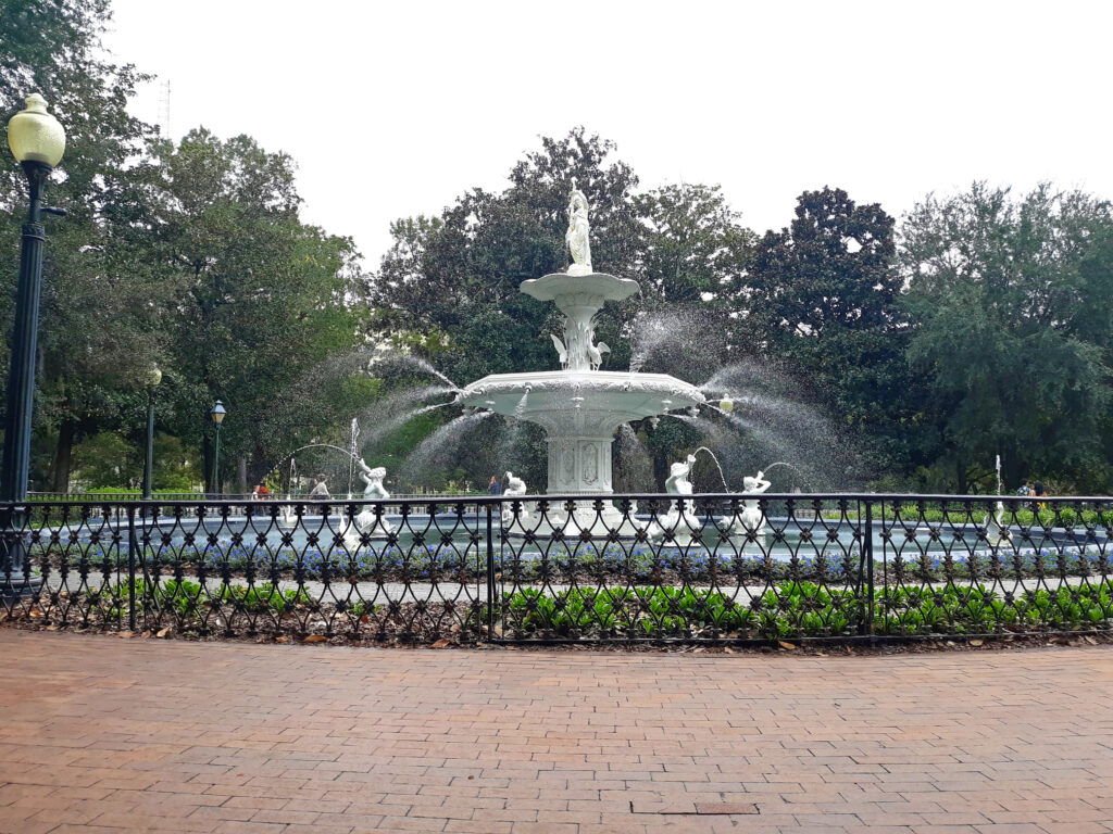 The larger Forsyth Park, with this fountain in the center, has been operating in Savannah since the 1850's.