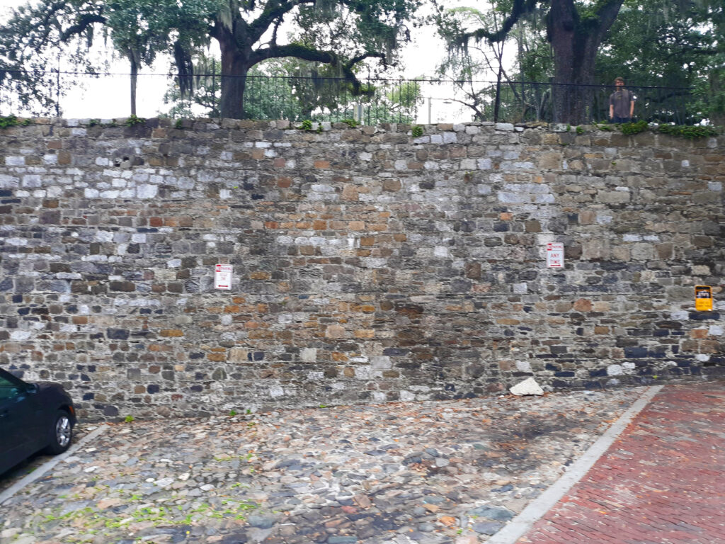 """Savannah is the 4th busiest seaport in the USA, following LA, Long Beach and NYC.  In early days ships would come empty of cargo but laden with junk """"ballast rock.""""  On arrival, they emptied the rock, which Savannah used for these walls and filled with cotton."""